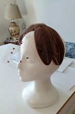 1950's Brown Velvet Bows, Velvet Polka-Dot Veil Headband/Fascinator