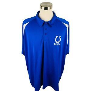 Indianapolis Colts Polo NFL Team Apparel Blue Short Sleeve Men's 3XL XXXL