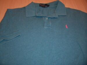 RALPH LAUREN SHORT SLEEVE TEAL PIQUE POLO SHIRT MENS LARGE EXCELLENT CONDITION