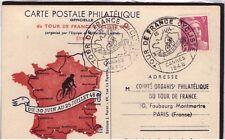 FRANCIA: 1948 CARTOLINA UFFICIALE TOUR DE FRANCE, TAPPA CANNES 15 LUGLIO 1948