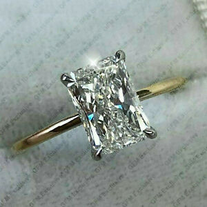 3.0 Ct Radiant  DVVS1 Moissanite Engagement Ring In 14k Multi-Tone Gold Plated