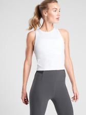 ATHLETA Shanti Crop Core Tank Top M MEDIUM White | Soft! Workout Yoga Shirt NWT