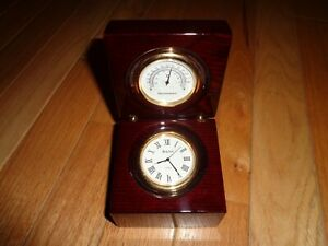 New BULOVA Collectible Desk Clock & Thermometer in Cherry Wood Case #B2664