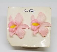 Vintage Estate Tinted Moulded Orchid Flower Clip Earrings Jewelry