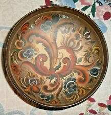 ROSEMALING large Wooden hand painted BOWL Signed with writing around sides