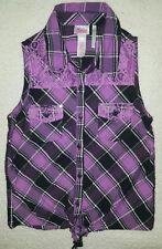 JUSTICE Black, Purple Plaid-Lace Sleeveless Button Down Top Sz 12