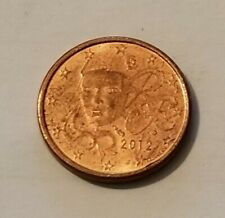 2012 France 1 Cent Euro Coin w/ Marianne, Good Condition