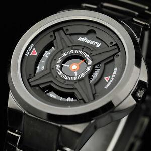 INFANTRY Mens Quartz Wrist Watch Sport Aviator Black Stainless Steel Waterproof