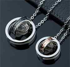 Titanium Steel Promise Wedding Love Cycle three times couple necklaces 1 pair
