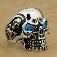 316L Stainless Steel CZ Eyes Titan Skull Ring Mens Biker Ring 3AX01A 4PX