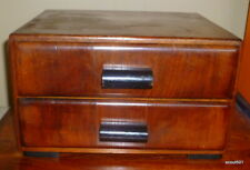 Antique 20s Wood Art Deco Vanity Dresser Furniture Top Jewelry Box Chest 2 Draw