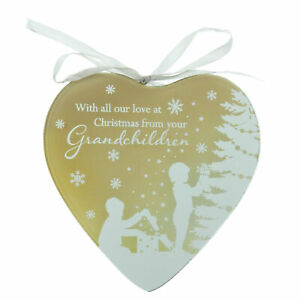 Mirror Glass Hanging Heart Plaque Gift – From Grandchildren at Christmas