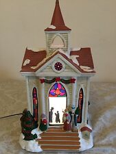 Village Square Christmas Hand Painted House Lighted Church Antique VTG Collector