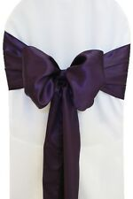 "100 Eggplant Satin Chair Cover Sash Bows 6"" x 108"" Banquet Wedding Made in USA"