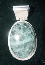 Green Fluorite Oval Stone set in 925 Sterling Silver Pendant.