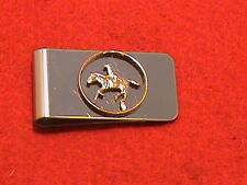 Hand cut Delware state quarter 24 kt gold plated mounted as a money clip