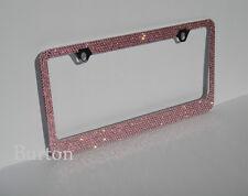 Premium Pink Crystal Diamond METAL License Plate Frame+Cap-C3
