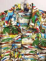 OP Ocean Pacific Sunwear Hawaiian Shirt Vintage Kamehameha Hula Super Rare