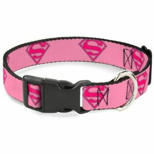 Buckle-Down Superman Shield Pink Pet Collar