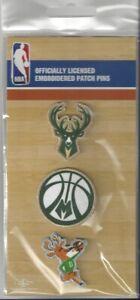 Milwaukee Bucks Pin Set of 3 Embroidered NBA Logo Pin Backs 4 Backpack Hat Craft