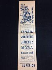 """1961 MEXICO BULLFIGHT ADVERTISEMENT, TOROS EN CALVILLO,AGS. 18"""" X 4 1/2"""""""