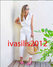 ZARA NEW WOMAN LONG DENIM JUMPSUIT WHITE XS-XL 6045/001