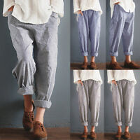 Womens Striped High Waist Vintage Striped Loose Cotton Long Trousers Harem Pant