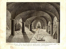 ABBAZIA MONTE OLIVETO MAGGIORE SOTTERRANEO ABBEY SIENA Incisione Originale 1800
