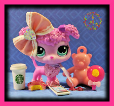 🌺Littlest Pet Shop LPS Pink Mommy POODLE DOG #3599 Starbucks Accessories LOT🌺