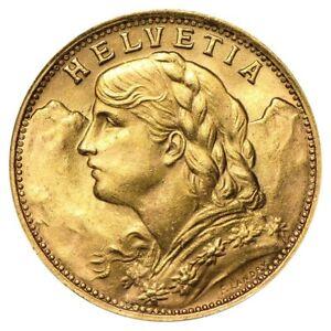 20 Francs Swiss Helvetia Vreneli Gold Coin AU/BU (1897-1949, Random Year)