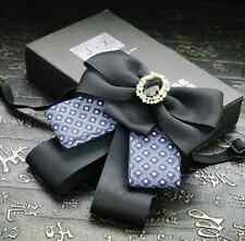 Vintage Style Black Blue Wedding Men Mens Adjustable Bow Tie Brooch Clip