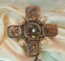 Sparkly Linda Levinson Sterling Gold Wash Vintage 80's Maltese Cross Brooch 74S8
