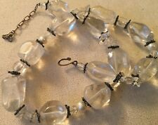 "17-18"" Heavy Tumbled Glass Crystal & Faux Pearl Rustic Natural Western Necklace"