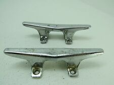 PAIR 4+1/2 INCH OLD CHROME BOAT DOCK CLEATS (D2A1541)