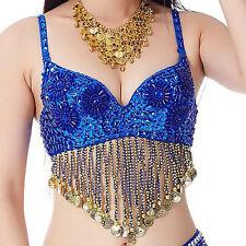 Belly Dance Sequin Beaded Bra Top Nightclub DJ Disco Festival Halter Bra Top New