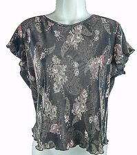 BRITTANY BLACK Womens Stretchy Ribbed Black Floral Ruffled Cap Sleeve Top Sz PL