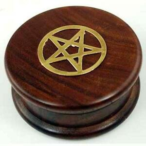 """3"""" Wooden Herb Grinder with Pentagram!"""