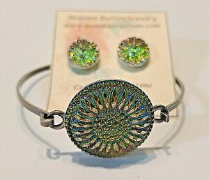 Large Beautiful Czech Glass Flower  Button Bracelet Earrings Handmade