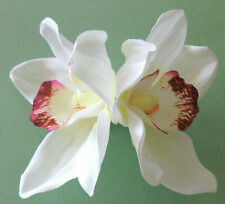 Large Double Cream White Orchid Poly Silk Flower Hair Clip,Updo Pinup Tropical