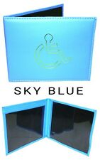 DISABILITY BADGE PARKING PERMIT HOLDER/CASE FAUX LEATHER SKY BLUE BRAND 1 PACK