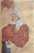 Egon Schiele, Mother and Child, Hand Signed Lithograph