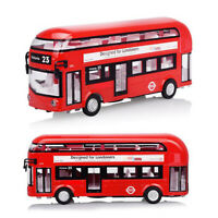 Alloy Deck Bus Toys Light Sound Pull Back Bus Model Toys Kids Gifts