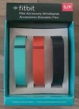 NIB GENUINE 3-pk FITBIT Flex Replacement Sport Bands Small S Teal/Tangerine/Navy