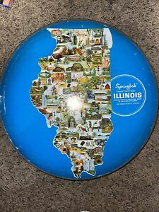 Vintage 1969 Springbok State of Illinois Jigsaw Puzzle Illinois Shape
