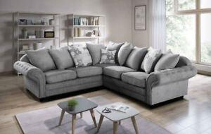 Nicole Graceland Graphite Fabric Corner & 3+2 Sofa Suite 5 Seater L Shape 2c2