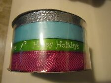 Holiday Christmas Gift Wrap Spritz Fabric Ribbon 4 End X 40 Ft Blue Green silver
