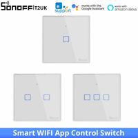 SONOFF T2UK WiFi Smart Wall Touch Light Switch Glass Panel eWeLink Alexa/Google