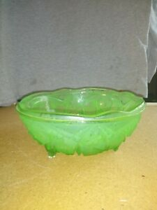 Shabby chic glass art Glass dish Green and clear glass bowl Green glass vase Vintage home decor Vintage curved green glass bowl