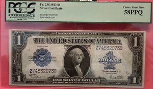 1923 $1 Silver Certificate PCGS 58 PPQ CHOICE ABOUT NEW Nice Bright Note Fr.238