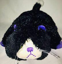 "Pee Wee Pillow Pets 11"" Soft Plush Cat Kitten Purple Black"